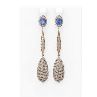 6.5 ctw Tanzanite & Diamond Earrings 18K Rose Gold -