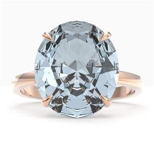 9 ctw Aquamarine Designer Solitaire Engagment Ring 14k