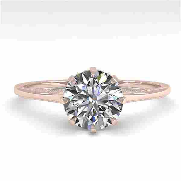1.01 ctw Certified VS/SI Diamond Ring Vintage 14k Rose