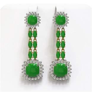 16.72 ctw Jade & Diamond Earrings 14K Yellow Gold -