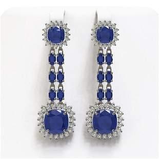 19.88 ctw Sapphire & Diamond Earrings 14K White Gold -