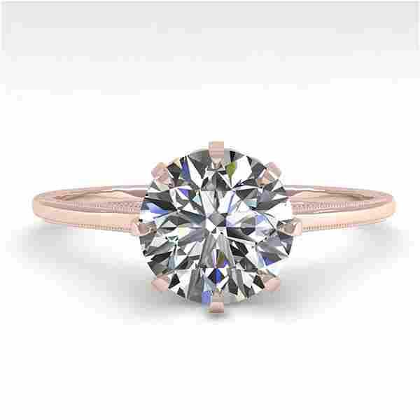 1.51 ctw Certified VS/SI Diamond Ring Vintage 14k Rose