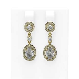 3.33 ctw Oval Diamond Earrings 18K Yellow Gold -
