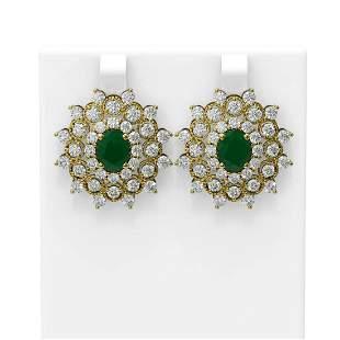 9.28 ctw Emerald & Diamond Earrings 18K Yellow Gold -
