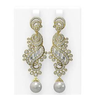 6.52 ctw Diamond & Pearl Earrings 18K Yellow Gold -