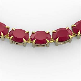68 ctw Ruby Eternity Designer Necklace 14k Yellow Gold