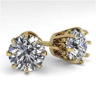 4 ctw VS/SI Diamond Stud Solitaire Earrings Vintage 18K