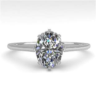 1.0 ctw VS/SI Oval Diamond Solitaire Ring Vintage 14k