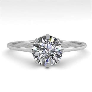 1.01 ctw Certified VS/SI Diamond Ring Vintage 14k White