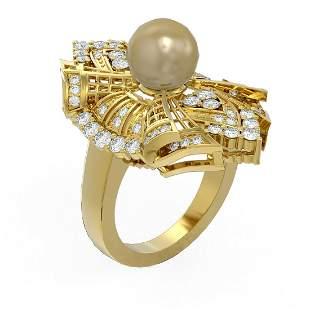 2 ctw Diamond & Pearl Ring 18K Yellow Gold - REF-253Y3X