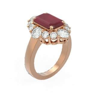 8.54 ctw Ruby & Diamond Ring 18K Rose Gold - REF-409X3A