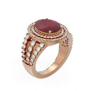 5.39 ctw Ruby & Diamond Ring 18K Rose Gold - REF-263G6W