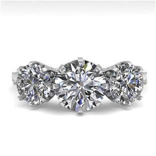 2 ctw Certified VS/SI Diamond Vintage Ring 14k White