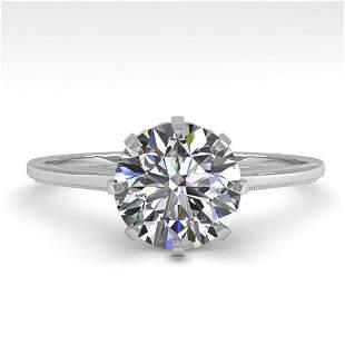 1.51 ctw Certified VS/SI Diamond Ring Vintage 14k White