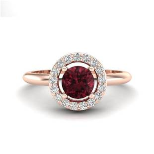 0.75 ctw Garnet & Micro VS/SI Diamond Certified Ring