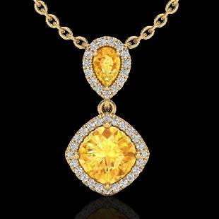 .63 ctw Citrine & Micro VS/SI Diamond Necklace