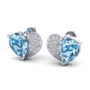 2.50 ctw Sky Blue Topaz & Micro Pave VS/SI Diamond