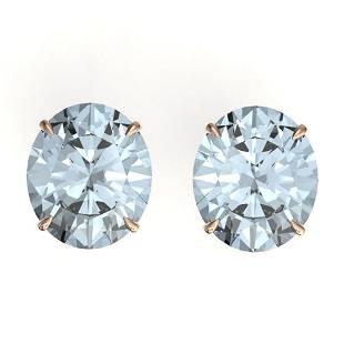 18 ctw Sky Blue Topaz Designer Stud Earrings 14k Rose