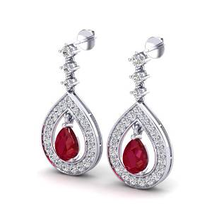 2.25 ctw Ruby & Micro Pave VS/SI Diamond Earrings 14k