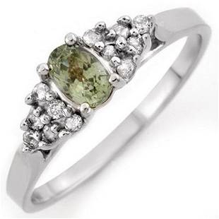 0.74 ctw Green Sapphire & Diamond Ring 18k White Gold -