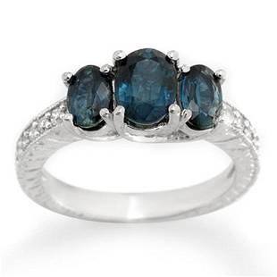 3.25 ctw Blue Sapphire & Diamond Ring 14k White Gold -