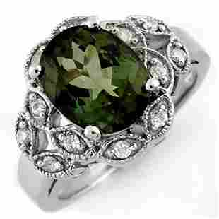 3.75 ctw Green Tourmaline & Diamond Ring 10k White Gold