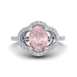 1.75 ctw Morganite & Micro Pave VS/SI Diamond Ring 10k