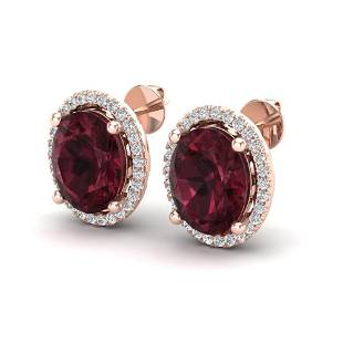 5 ctw Garnet & Micro Pave VS/SI Diamond Earrings 14k