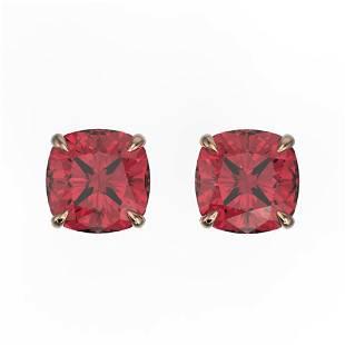 4 ctw Cushion Cut Pink Tourmaline Stud Earrings 14k