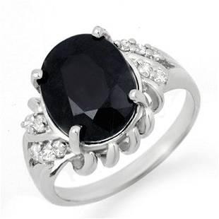 4.83 ctw Blue Sapphire & Diamond Ring 10k White Gold -