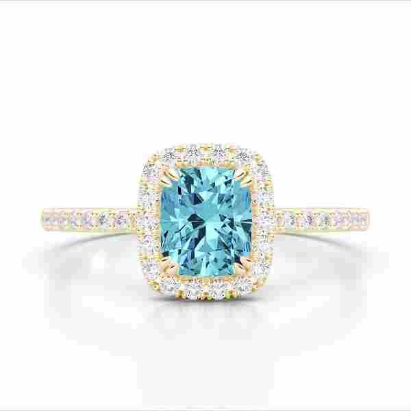 1.25 ctw Sky Blue Topaz & Micro Pave VS/SI Diamond Ring