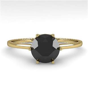1.0 ctw Black Diamond Art Deco Ring 14k Yellow Gold -