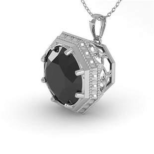 1.50 ctw Black Diamond Necklace Art Deco 14k White Gold