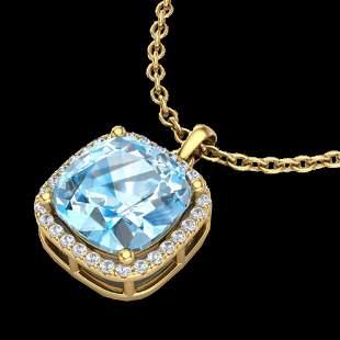 6 ctw Sky Blue Topaz & Micro VS/SI Diamond Necklace 18k