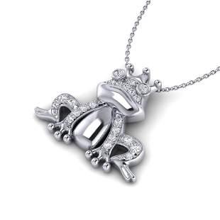 0.25 ctw Micro Pave VS/SI Diamond Frog Necklace White