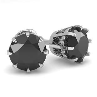 2.0 ctw Black Diamond Stud Solitaire Earrings Vintage