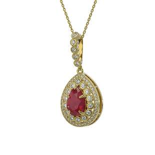 4.97 ctw Certified Ruby & Diamond Victorian Necklace