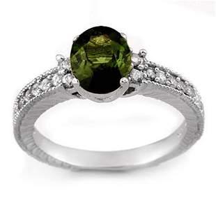 2.17 ctw Green Tourmaline & Diamond Ring 14k White Gold
