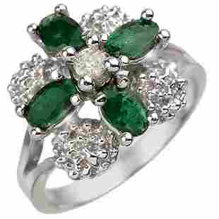 1.08 ctw Emerald & Diamond Ring 10k White Gold -
