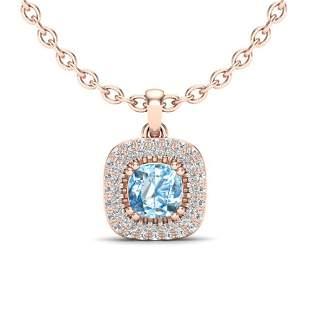 1.08 ctw Sky Blue Topaz & Micro VS/SI Diamond Necklace