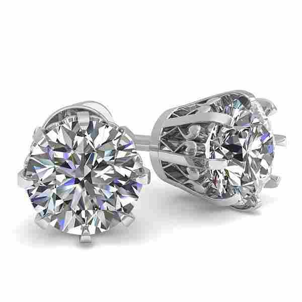 1.0 ctw VS/SI Diamond Stud Earrings Vintage 14k White