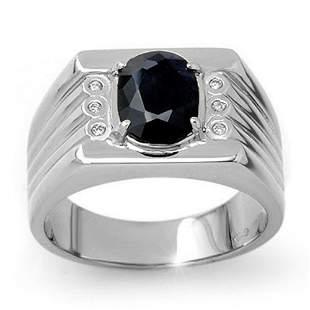 3.76 ctw Blue Sapphire & Diamond Men's Ring 10k White