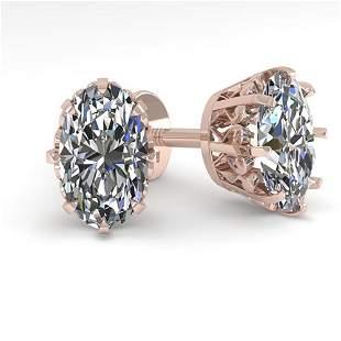 1.0 ctw VS/SI Oval Cut Diamond Stud Earrings Vintage