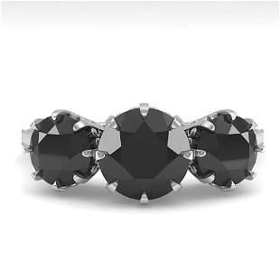 2 ctw Black Diamond Ring Vintage 14k White Gold -