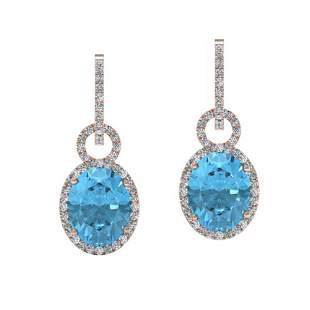 8 ctw Sky Blue Topaz & Micro Halo VS/SI Diamond