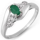 0.42 ctw Emerald & Diamond Ring 18k White Gold -