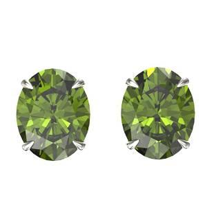6 ctw Green Tourmaline Designer Stud Earrings 18k White