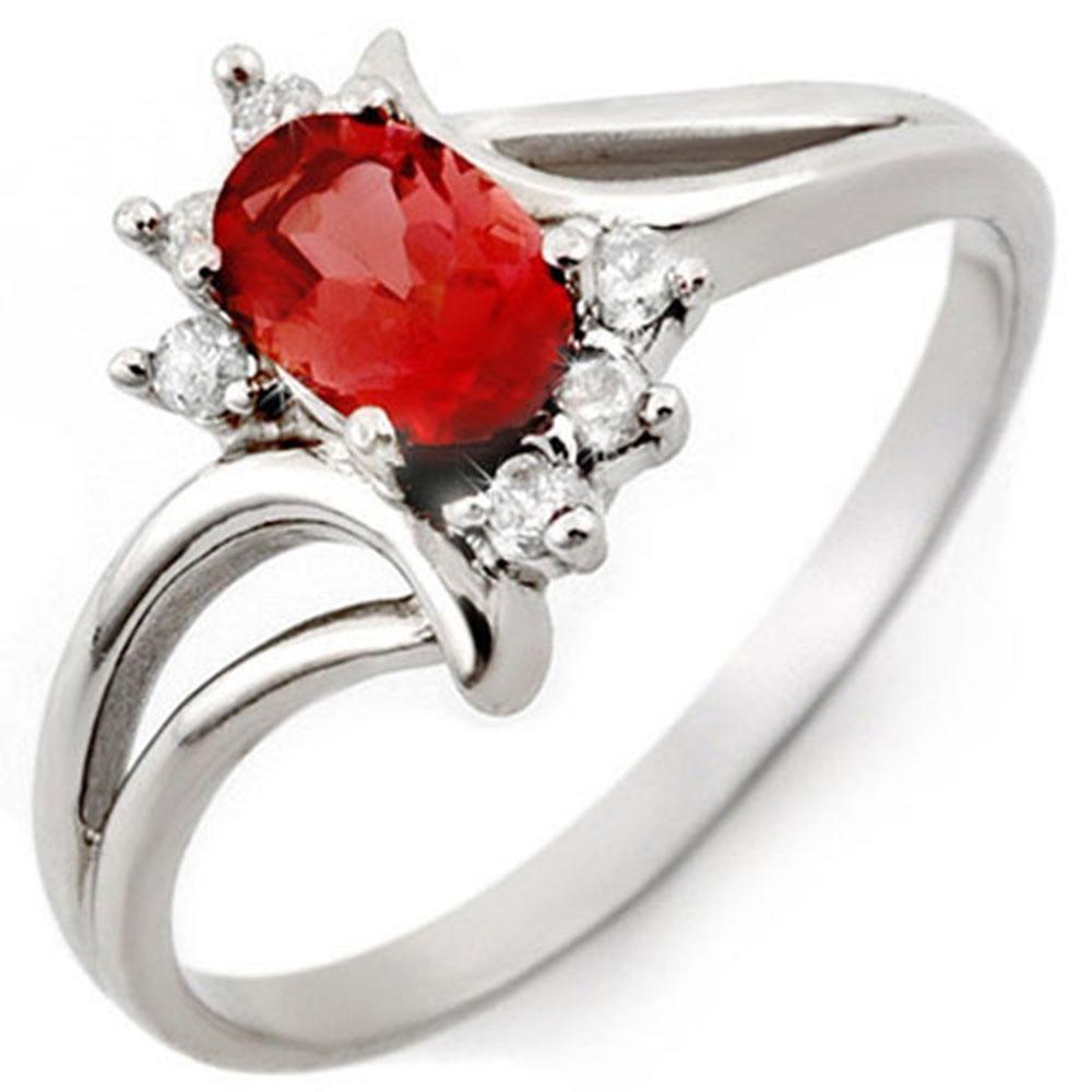 0.70 ctw Pink Tourmaline & Diamond Ring 10k White Gold