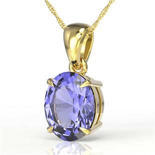 3.50 ctw Tanzanite Designer Necklace 18k Yellow Gold -