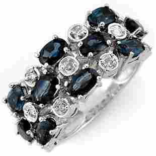 4.20 ctw Blue Sapphire & Diamond Ring 10k White Gold -